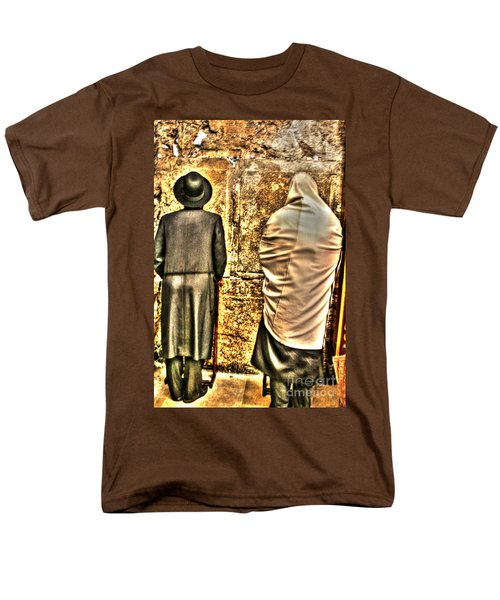 Men's T-Shirt  (Regular Fit) featuring the photograph Praying At The Western Wall by Doc Braham