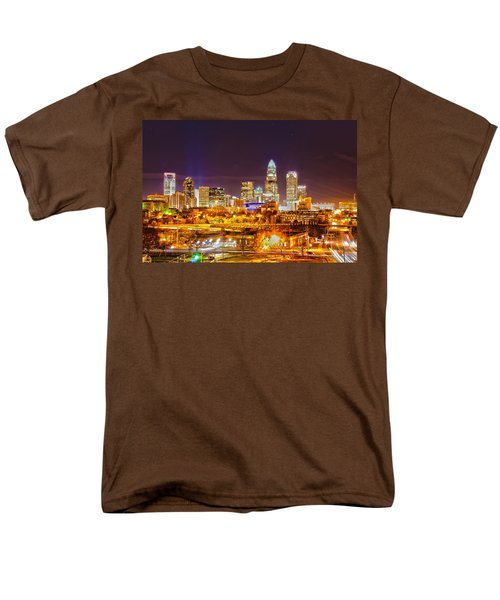 Men's T-Shirt  (Regular Fit) featuring the photograph Skyline Of Uptown Charlotte North Carolina At Night by Alex Grichenko