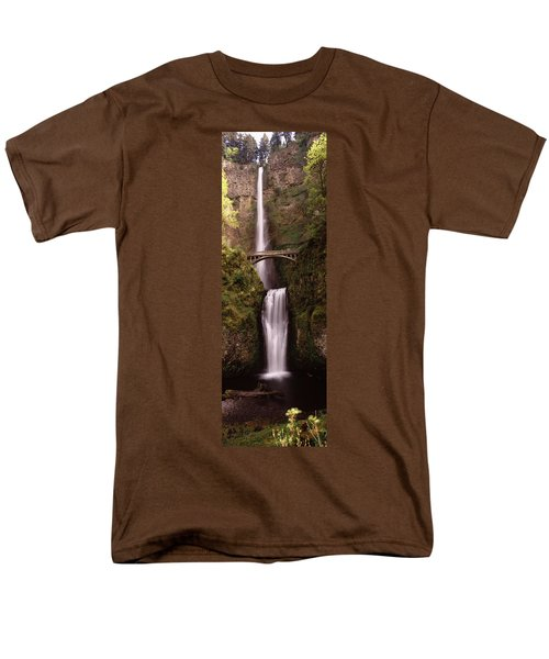 Waterfall In A Forest, Multnomah Falls Men's T-Shirt  (Regular Fit) by Panoramic Images