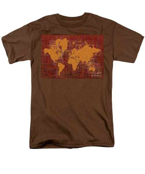 World Map Rettangoli In Orange Red And Brown Men's T-Shirt  (Regular Fit) by Eleven Corners