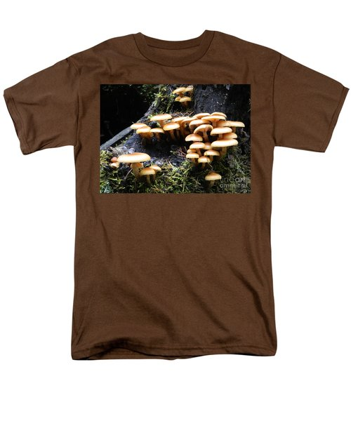Men's T-Shirt  (Regular Fit) featuring the photograph Mushrooms On A Stump by Chalet Roome-Rigdon