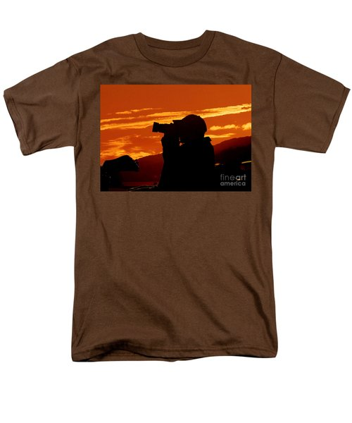 Men's T-Shirt  (Regular Fit) featuring the photograph A Photographer Enjoying His Work by Kathy Baccari