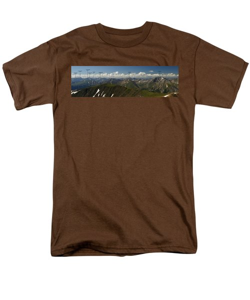 A Summit View Panorama Text Men's T-Shirt  (Regular Fit) by Jeremy Rhoades