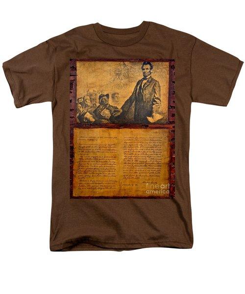 Abraham Lincoln The Gettysburg Address Men's T-Shirt  (Regular Fit) by Saundra Myles