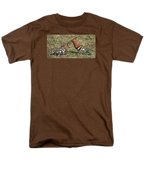 Men's T-Shirt  (Regular Fit) featuring the photograph African Hoopoe Feeding Young by Liz Leyden