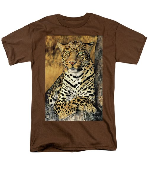 African Leopard Portrait Wildlife Rescue Men's T-Shirt  (Regular Fit) by Dave Welling