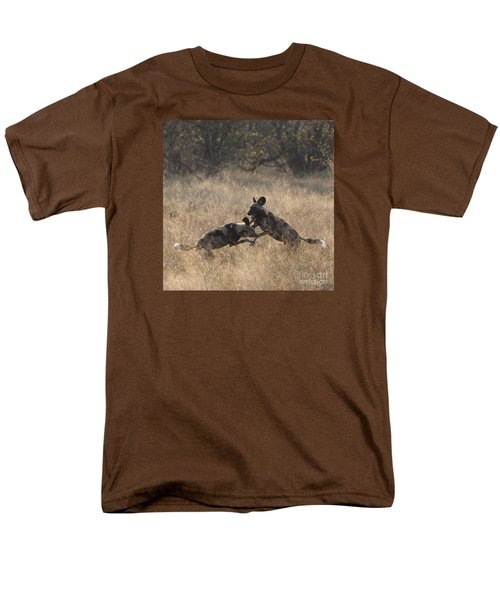 Men's T-Shirt  (Regular Fit) featuring the photograph African Wild Dogs Play-fighting by Liz Leyden