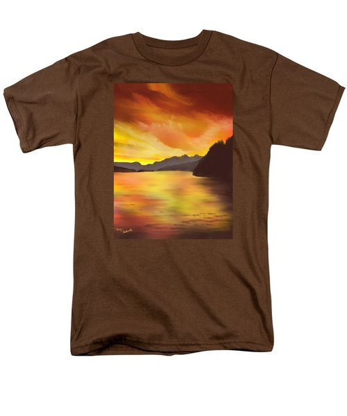 Men's T-Shirt  (Regular Fit) featuring the painting Alaska Sunset by Terry Frederick