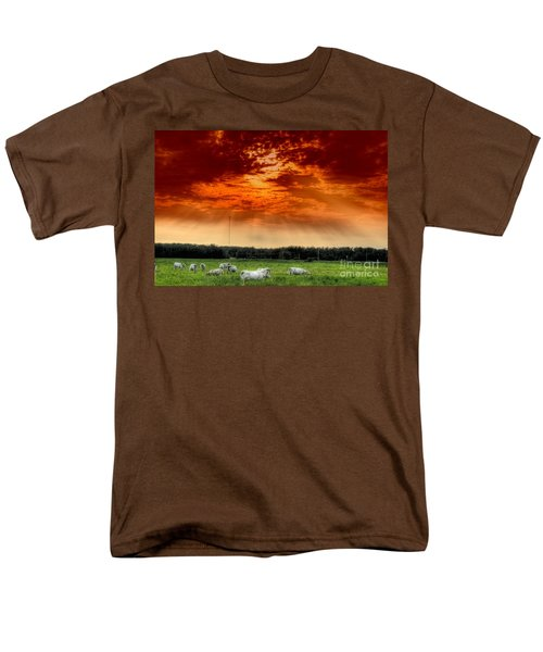 Men's T-Shirt  (Regular Fit) featuring the photograph Alberta Canada Cattle Herd Hdr Sky Clouds Forest by Paul Fearn