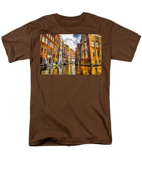 Men's T-Shirt  (Regular Fit) featuring the painting Amasterdam Houses In The Water by Georgi Dimitrov