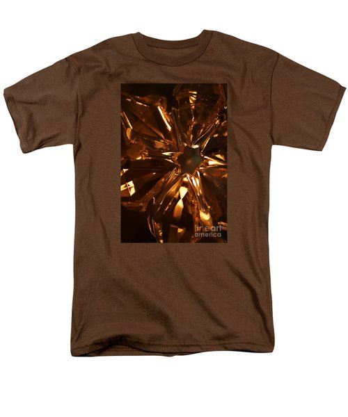 Men's T-Shirt  (Regular Fit) featuring the photograph Amber Crystal Snowflake by Linda Shafer