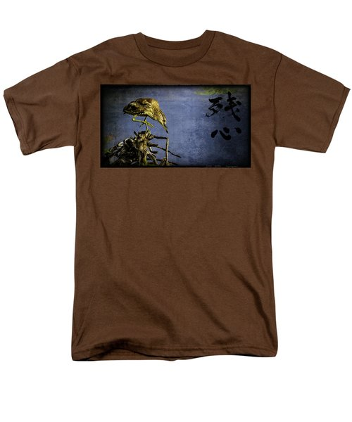Men's T-Shirt  (Regular Fit) featuring the mixed media American Bittern With Brush Calligraphy Lingering Mind by Peter v Quenter