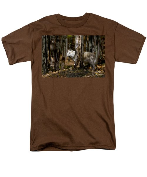 Men's T-Shirt  (Regular Fit) featuring the photograph Arctic Wolf In Forest by Wolves Only