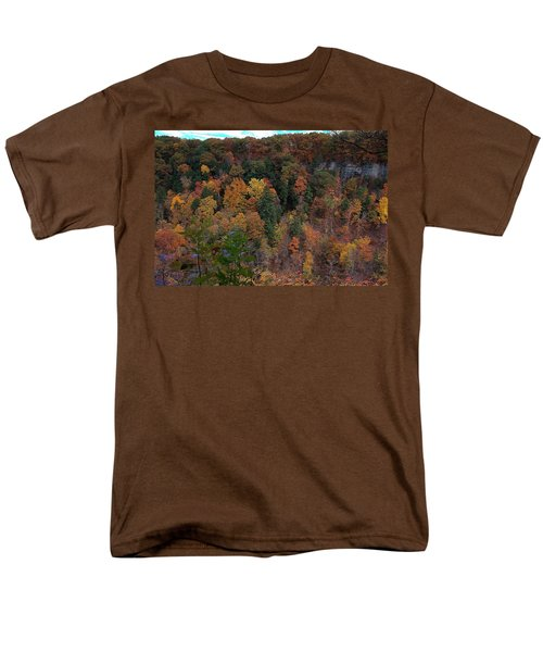 Men's T-Shirt  (Regular Fit) featuring the photograph Autumn Colors In Taughannock State Park Ithaca New York by Paul Ge