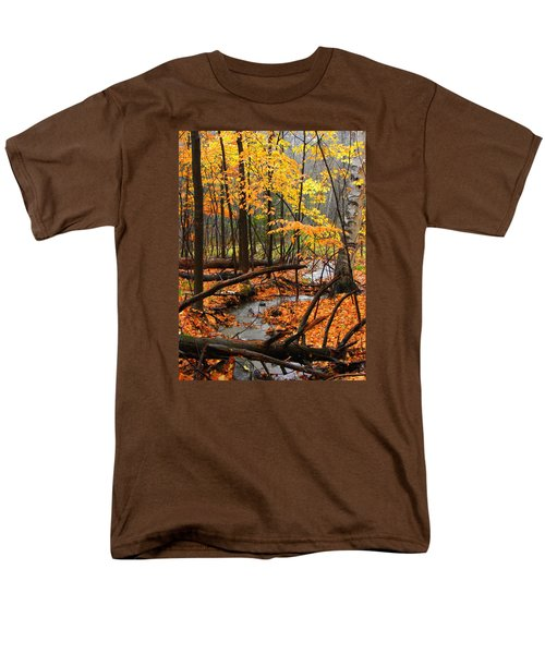 Men's T-Shirt  (Regular Fit) featuring the photograph Autumn Creek In The Rain by Rodney Lee Williams