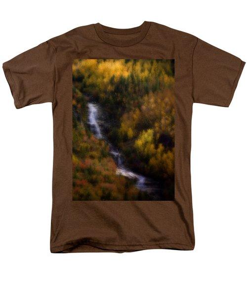 Men's T-Shirt  (Regular Fit) featuring the photograph Autumn Forest Falls by Ellen Heaverlo