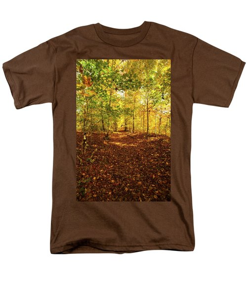 Autumn Leaves Pathway  Men's T-Shirt  (Regular Fit) by Jerry Cowart