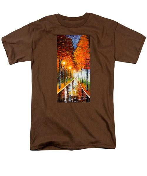 Men's T-Shirt  (Regular Fit) featuring the painting Autumn Park Night Lights Palette Knife by Georgeta  Blanaru
