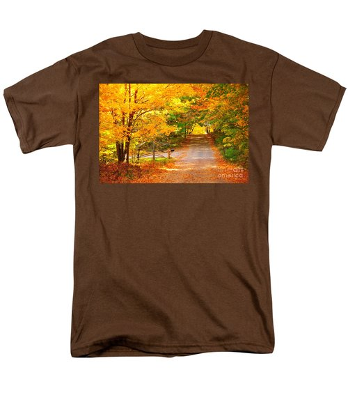 Men's T-Shirt  (Regular Fit) featuring the photograph Autumn Road Home by Terri Gostola
