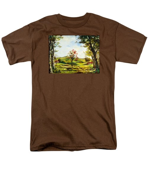 Men's T-Shirt  (Regular Fit) featuring the painting Autumn Road by Lee Piper