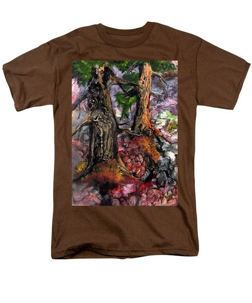 Men's T-Shirt  (Regular Fit) featuring the painting Autumn Woods by Sherry Shipley