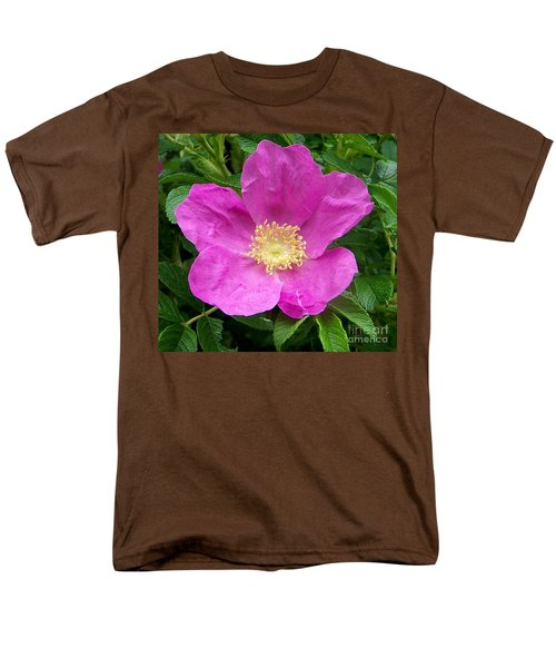 Pink Beach Rose Fully In Bloom Men's T-Shirt  (Regular Fit) by Eunice Miller