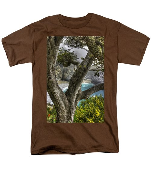 Big Sur Mc Way Falls At Julia Pfeiffer State Park-1 Central California Coast Spring Early Afternoon Men's T-Shirt  (Regular Fit) by Michael Mazaika