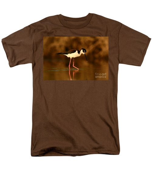 Men's T-Shirt  (Regular Fit) featuring the photograph Black-necked Stilt Waterdrops by John F Tsumas