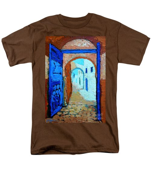 Men's T-Shirt  (Regular Fit) featuring the painting Blue Gate by Ana Maria Edulescu