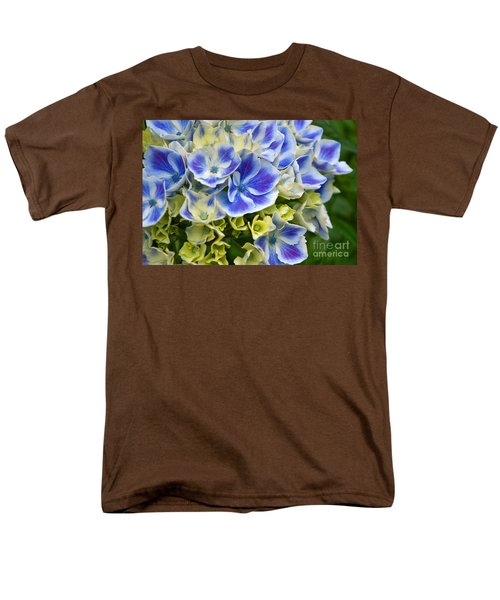 Men's T-Shirt  (Regular Fit) featuring the photograph Blue Harlequin Hydrandea Flower by Valerie Garner