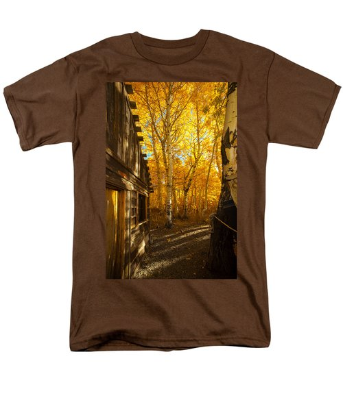 Boat House Among The Autumn Leaves  Men's T-Shirt  (Regular Fit) by Jerry Cowart