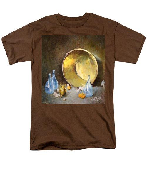 Men's T-Shirt  (Regular Fit) featuring the digital art Brass Kettle With Blue Bottles After Carlsen by Lianne Schneider