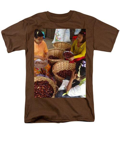 Men's T-Shirt  (Regular Fit) featuring the photograph Burmese Ladies Sorting Water Chestnuts Zay Cho Street Market 29th Street Mandalay Burma by Ralph A  Ledergerber-Photography