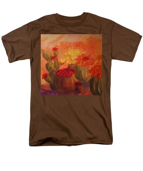 Cactus Garden - Square Format Men's T-Shirt  (Regular Fit) by Ellen Levinson