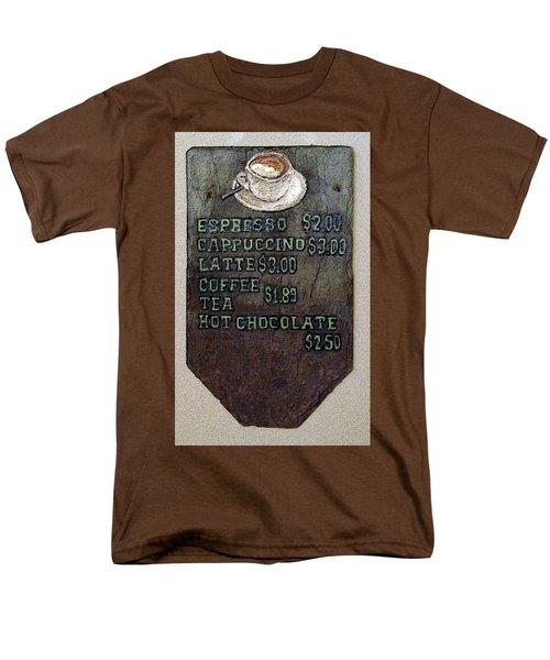 Cafe Sign On Slate Men's T-Shirt  (Regular Fit) by Joyce  Wasser