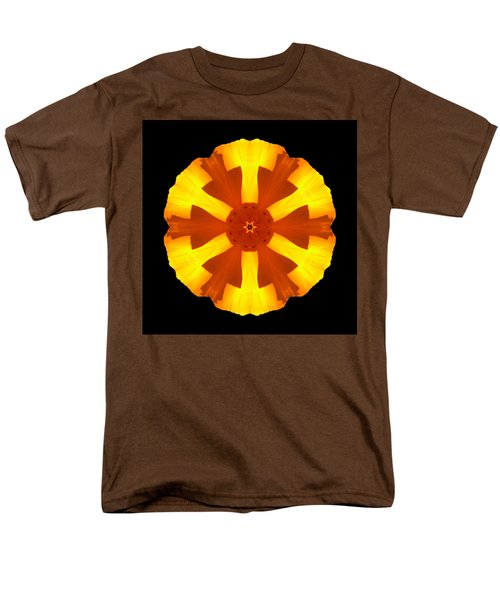 California Poppy Flower Mandala Men's T-Shirt  (Regular Fit)
