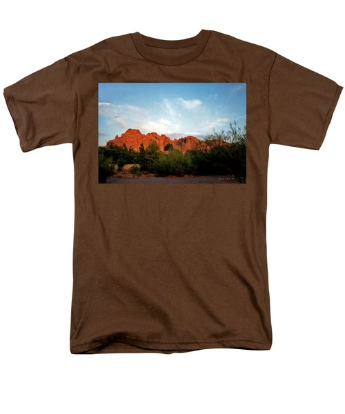 Camelback Mountain And Moon Men's T-Shirt  (Regular Fit) by Connie Fox