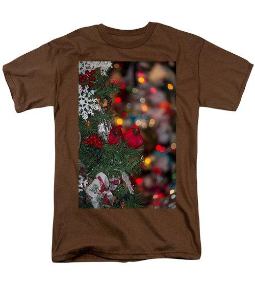 Men's T-Shirt  (Regular Fit) featuring the photograph Cardinals At Christmas by Patricia Babbitt