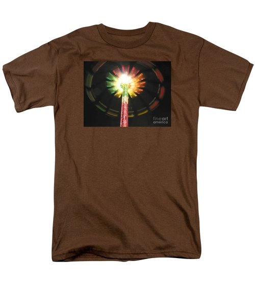 Men's T-Shirt  (Regular Fit) featuring the photograph Carnival Ride At Night by Connie Fox