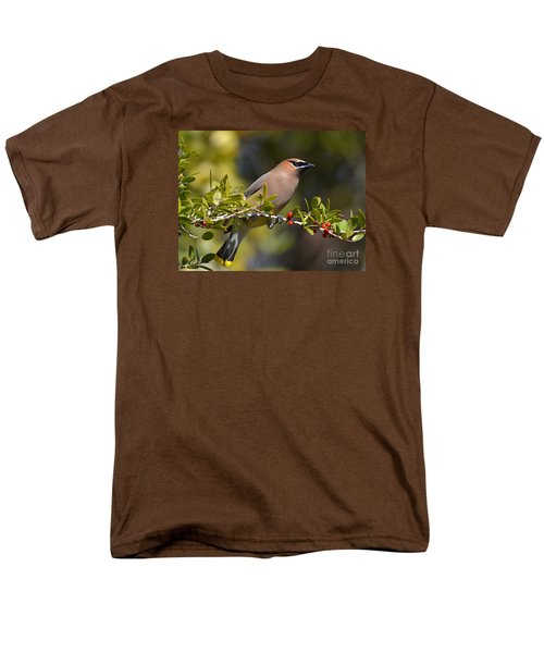 Men's T-Shirt  (Regular Fit) featuring the photograph Cedar Waxwing And Red Berries by Kathy Baccari