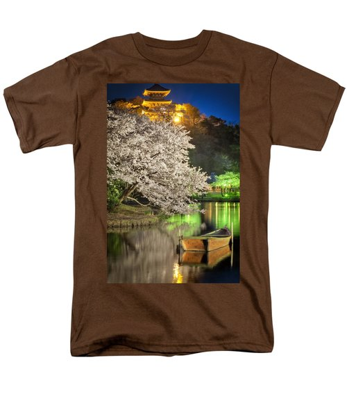 Men's T-Shirt  (Regular Fit) featuring the photograph Cherry Blossom Temple Boat by John Swartz