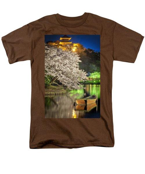 Cherry Blossom Temple Boat Men's T-Shirt  (Regular Fit) by John Swartz