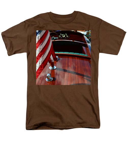 Chris Craft With Flag And Steering Wheel Men's T-Shirt  (Regular Fit) by Michelle Calkins