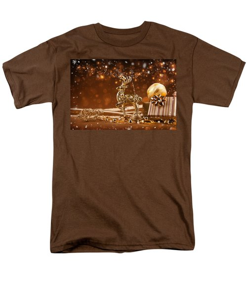 Christmas Reindeer In Gold Men's T-Shirt  (Regular Fit) by Doc Braham