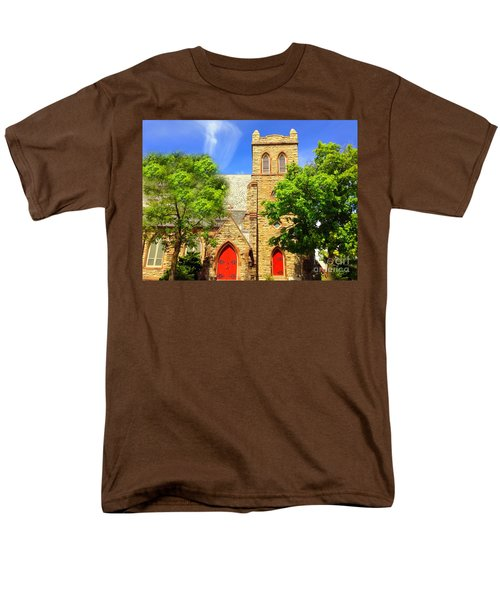 Men's T-Shirt  (Regular Fit) featuring the photograph Church And Red Doors by Becky Lupe
