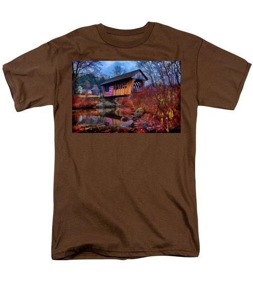 Cilleyville Covered Bridge Men's T-Shirt  (Regular Fit) by Jeff Folger