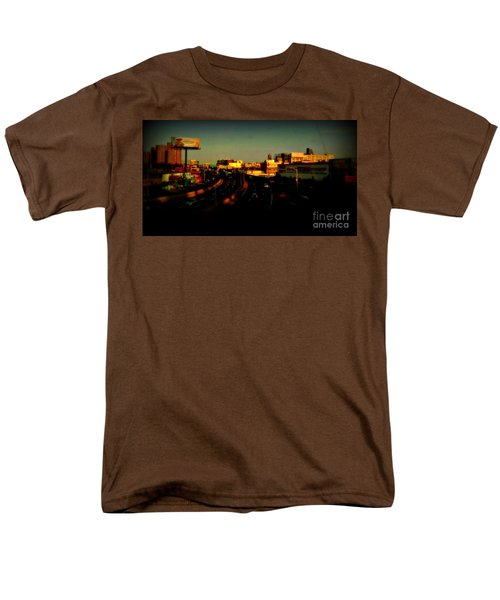 Men's T-Shirt  (Regular Fit) featuring the photograph City Of Gold - New York City Sunset With Water Towers by Miriam Danar