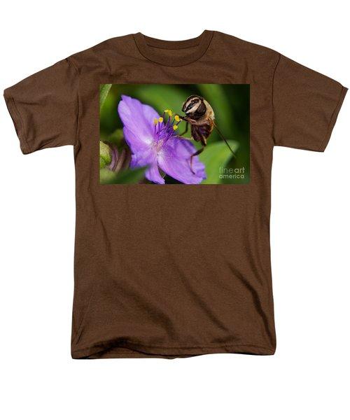 Closeup Of A Bee On A Purple Flower Men's T-Shirt  (Regular Fit) by Nick  Biemans