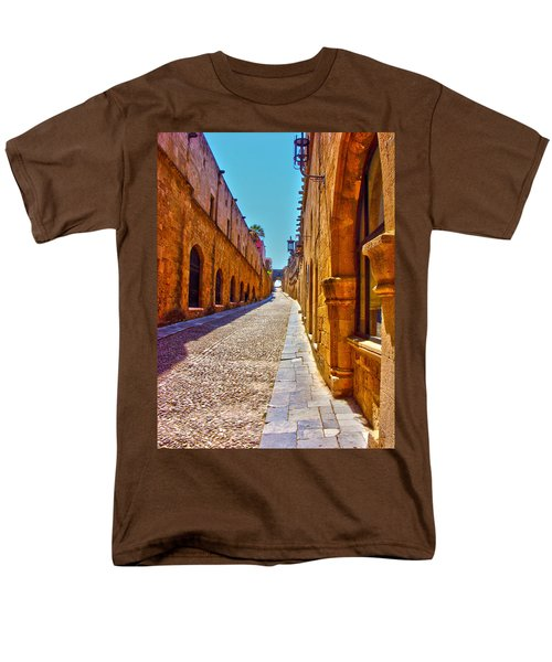 Rhodes Cobbled Street Men's T-Shirt  (Regular Fit) by Scott Carruthers