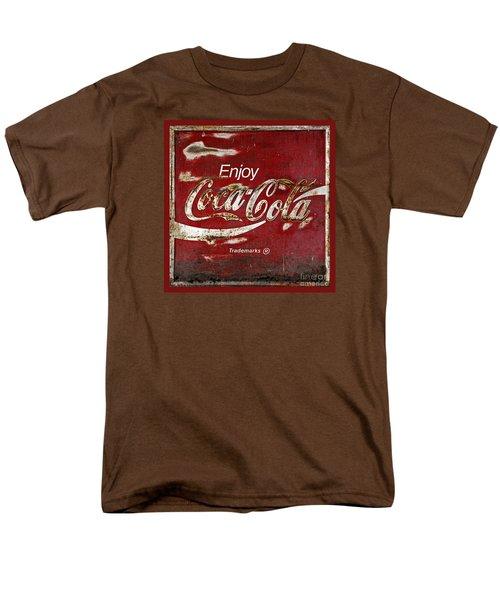 Coca Cola Red Grunge Sign Men's T-Shirt  (Regular Fit)